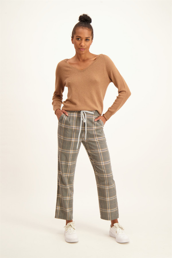 Pantalon droit à carreaux taille élastique Artigli