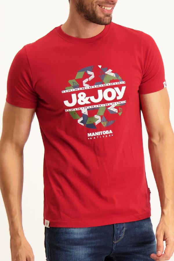 T-shirt à manches courtes en coton imprimé devant J&Joy