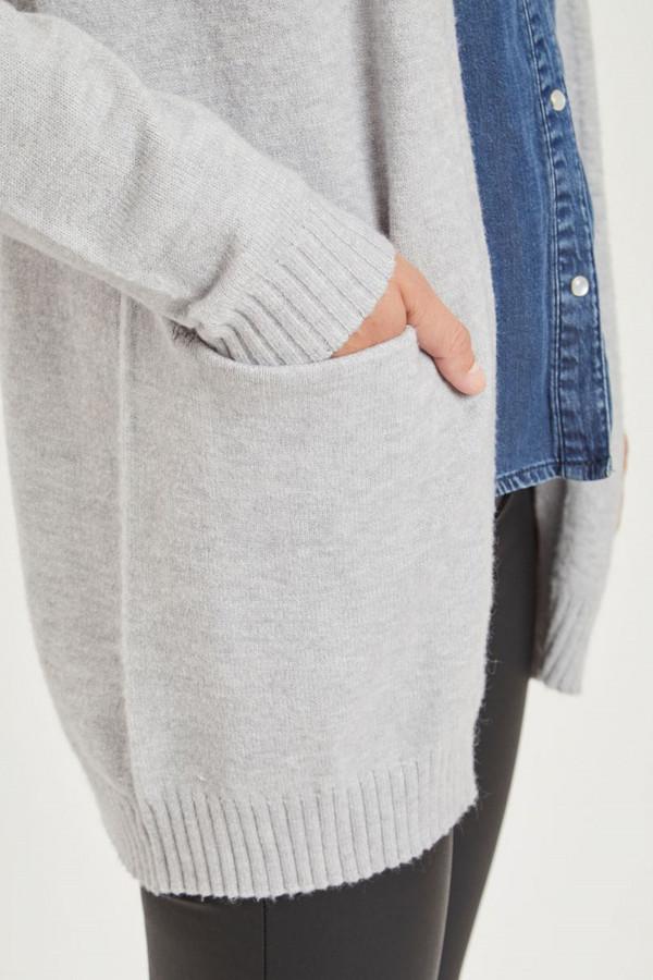 Cardigan uni mi-long en maille modèle ouvert avec poches RIL Vila