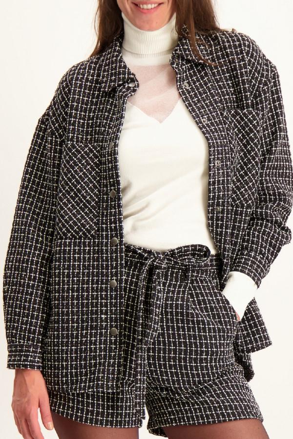 Veste à carreaux mi-longue en tweed LIVIA Only