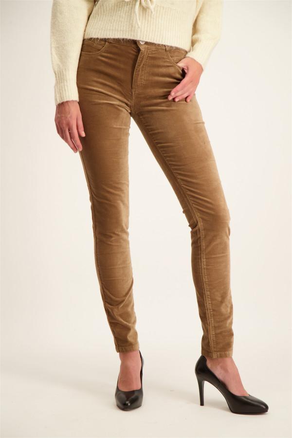 Pantalon uni en velours taille haute élastique avec lurex CELINE Para Mi