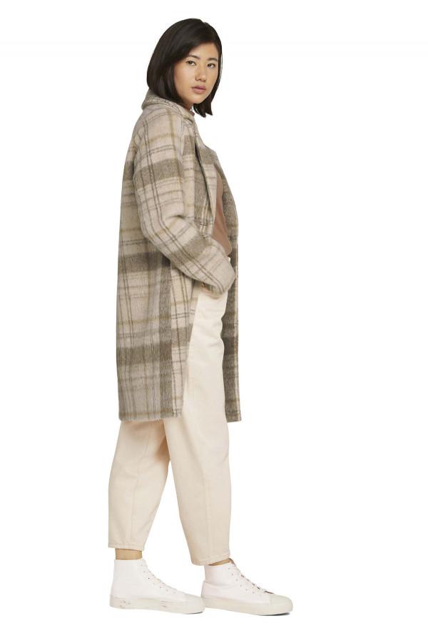 Manteau à carreaux mi-long en matière laineuse Tom Tailor
