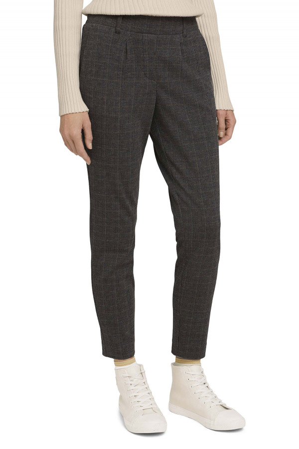 Pantalon milano à carreaux taille élastique au dos Tom Tailor