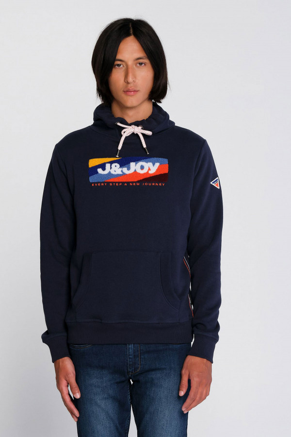 Sweat uni à capuche avec logo devant J&Joy