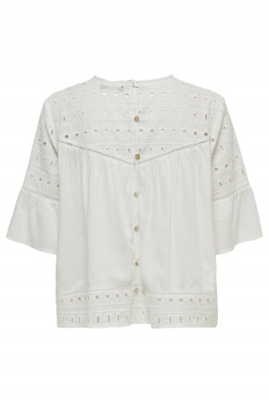 Blouse unie ample manches 3/4 borderie anglaise IRINA Only