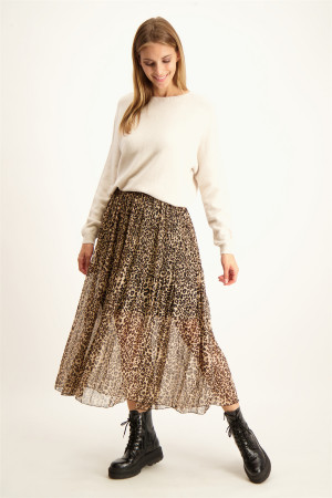 Pull uni oversized col V en maille Moon Orfeo