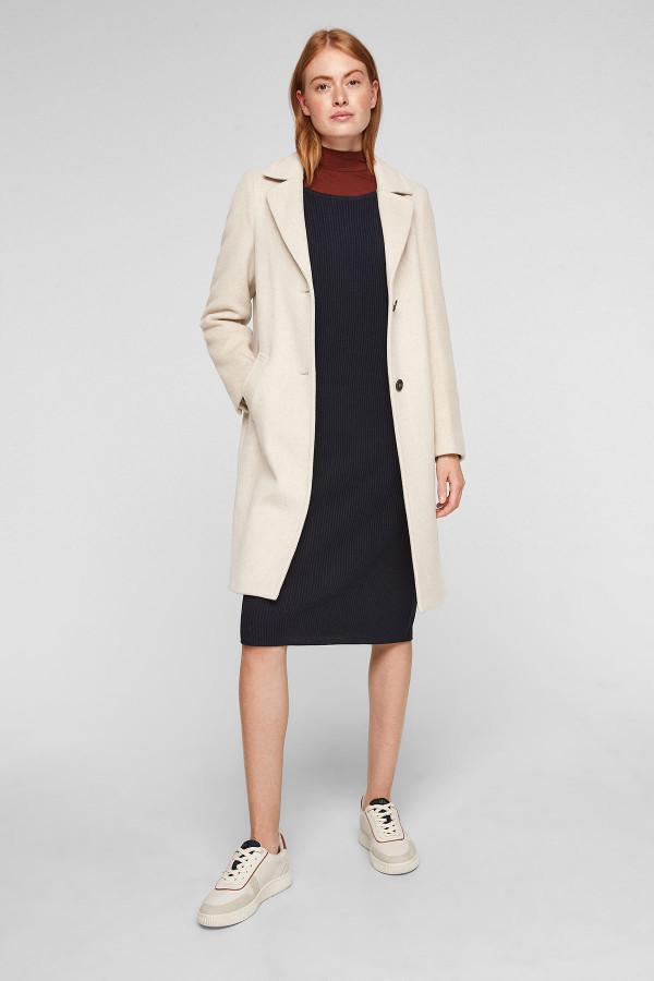 Manteau chiné mi-long en matière laineuse S.Oliver