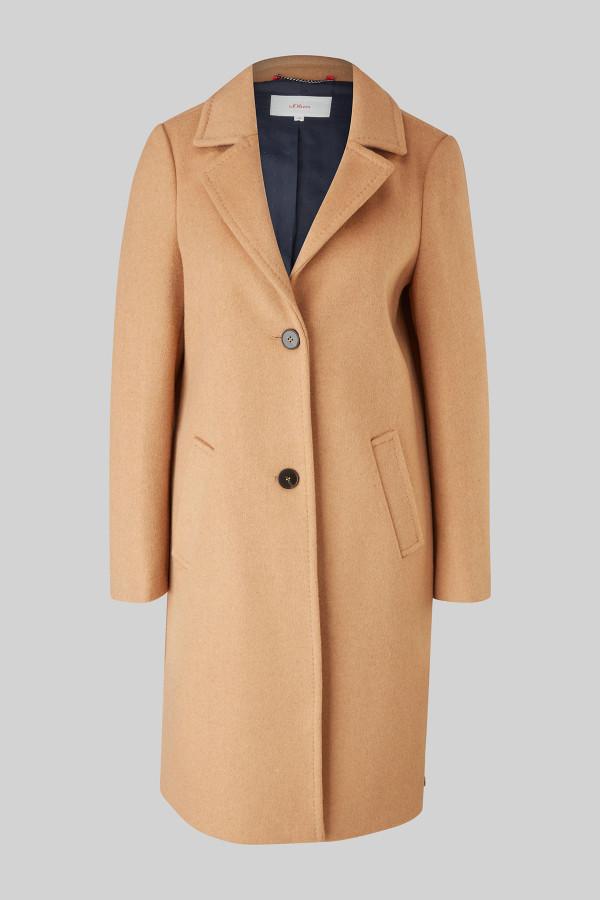Manteau uni mi-long en matière laineuse S.Oliver