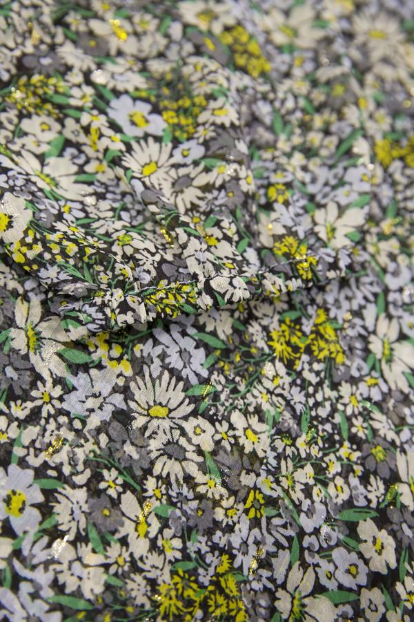 Blouse fleurie en voile avec lurex col V Garcia