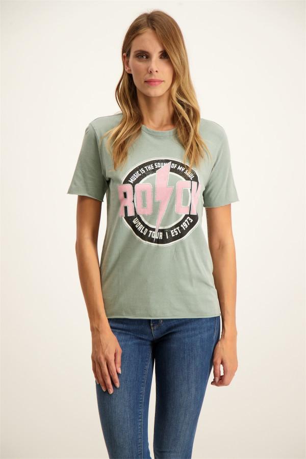 T-shirt uni bi-matière avec dentelle FIRST Only