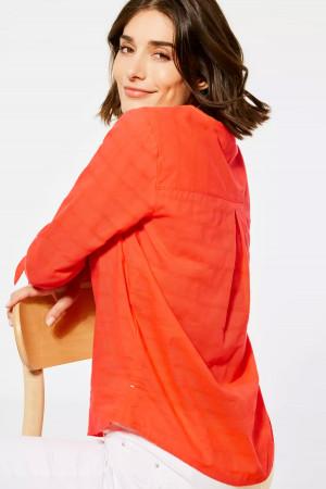 Blouse unie en coton avec poche poitrine manches 3/4 Cecil