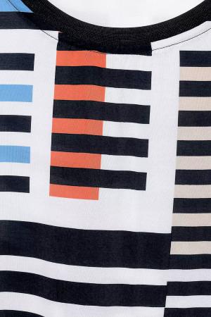 T-shirt rayé fluide avec cordons de serrage à la base Cecil