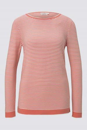 Pull imprimé rayé avec bords contrastants en coton Tom Tailor