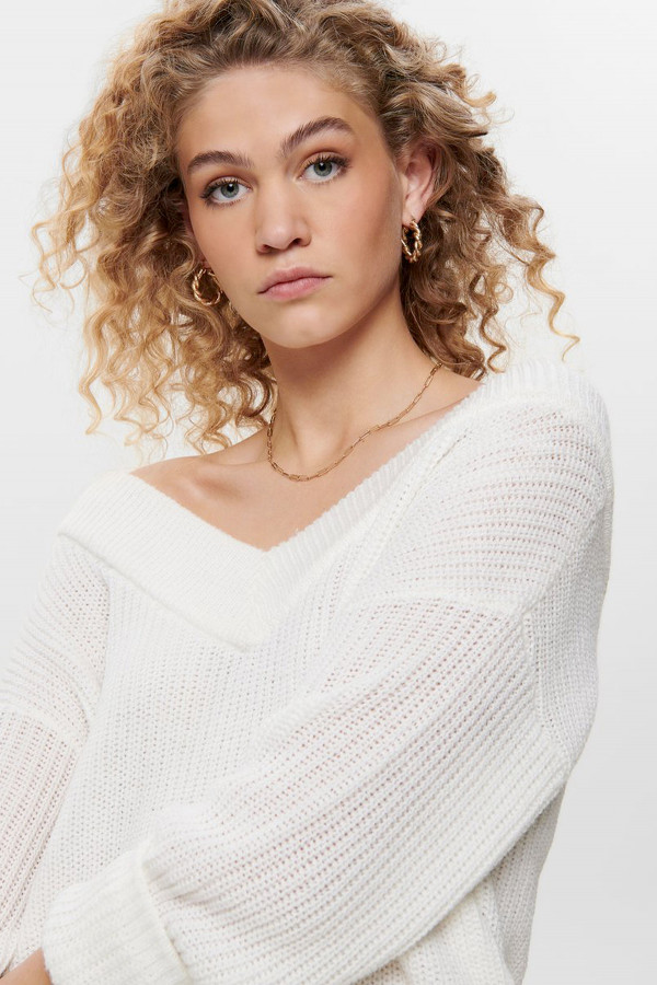 Pull uni en maille col V manches longues MELTON Only
