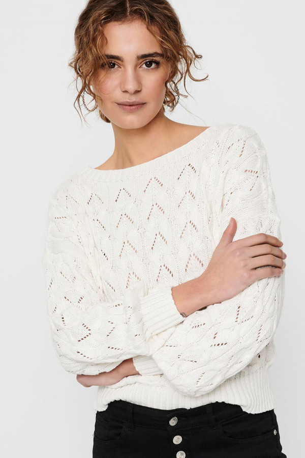 Pull uni en maille ajourée manches longues BRYNN Only