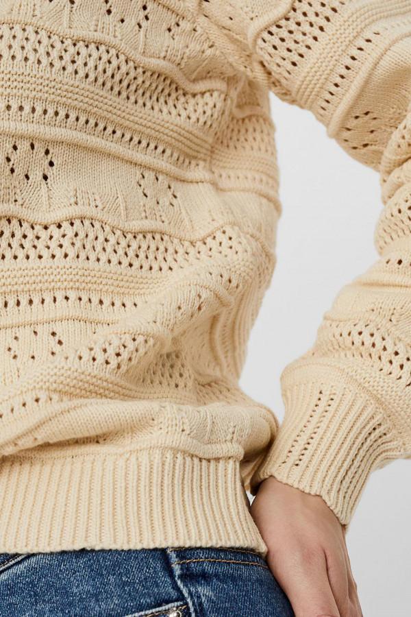 Pull uni en maille ajourées manches longues Vero Moda