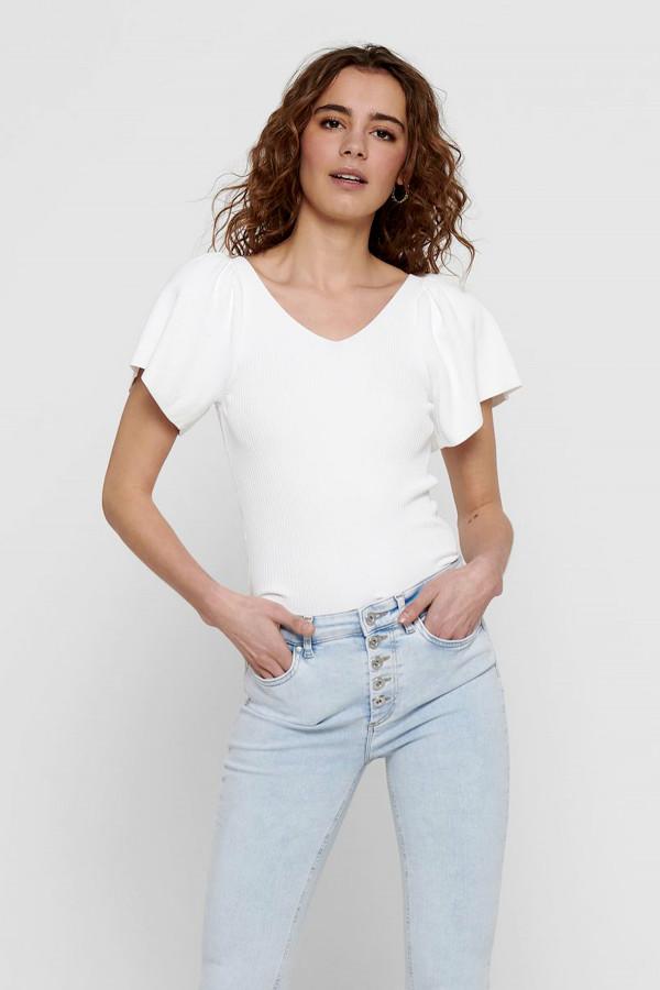T-shirt uni cintré côtelé col V devant et au dos LEELO Only