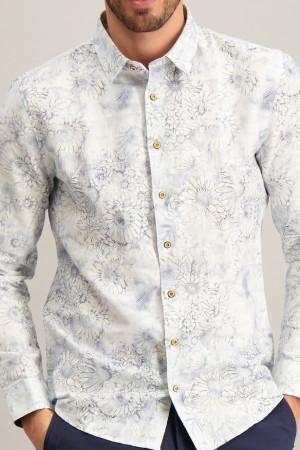 Chemise fleurie en lin et coton manches longues No Excess