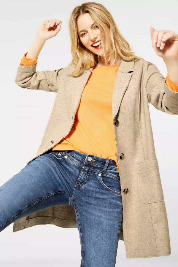 Manteau uni matière laineuse avec poches devant COSY Street One