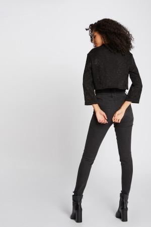 Veste courte en dentelle noire Viguy Morgan