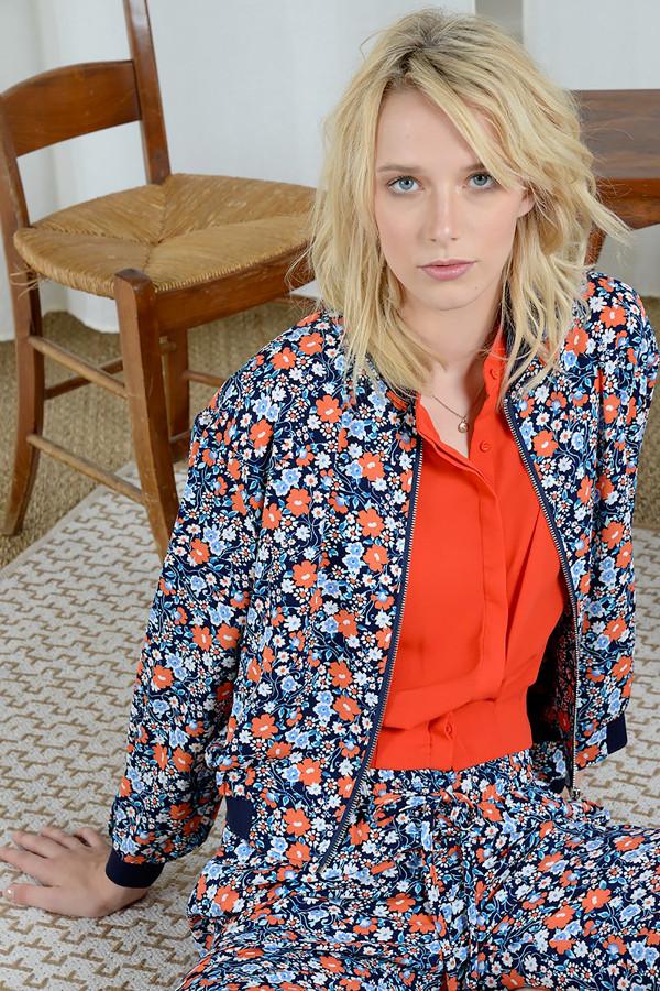 Bomber fleuri fluide avec poches et bords contrastants Molly Bracken